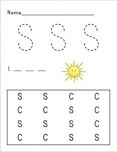 Letter s worksheets sun