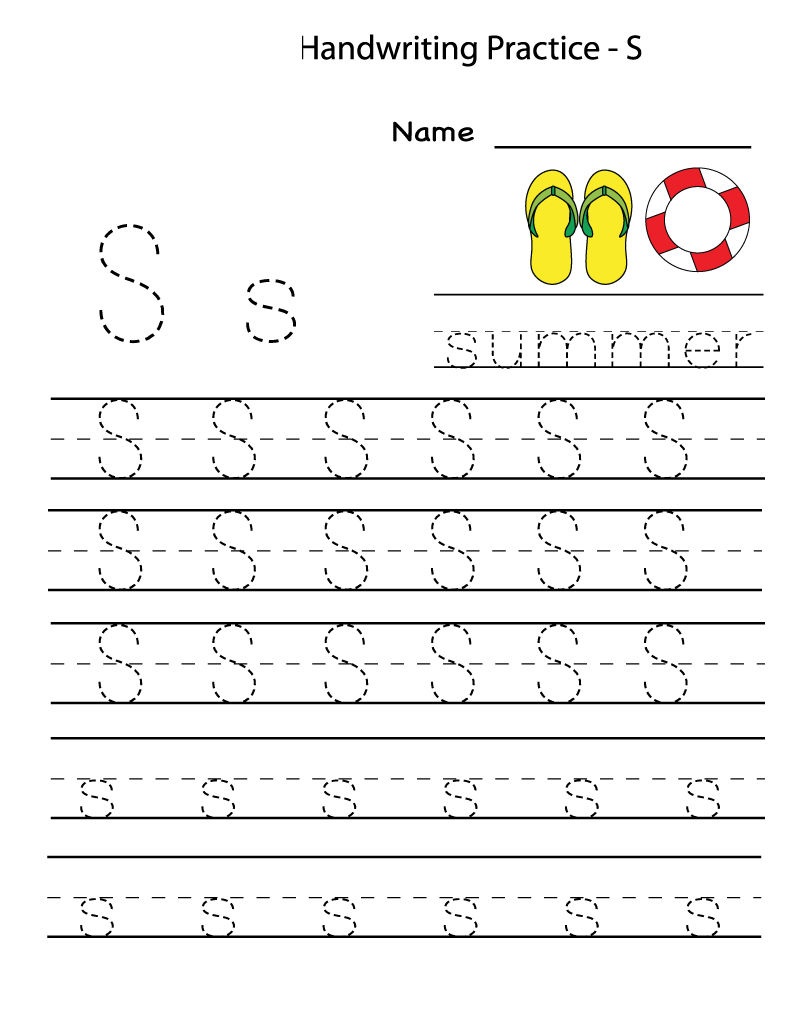 Letter S Worksheets Tracing