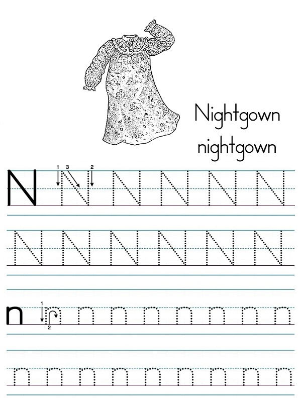 Letter Tracer Pages Nightgown 001