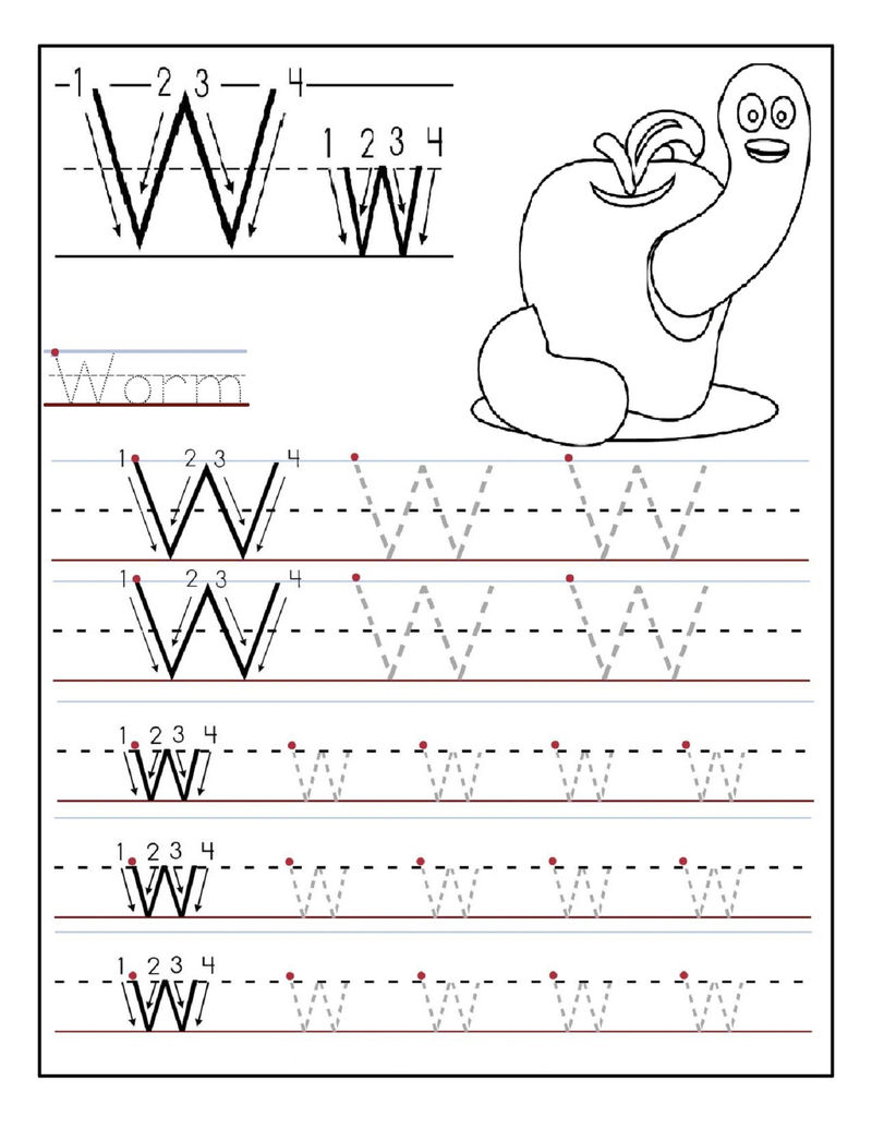 Letter Tracing Sheets Letter W