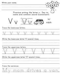 Letter v worksheets printable 001