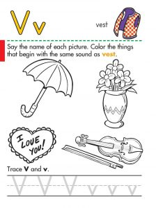 Letter v worksheets tracing