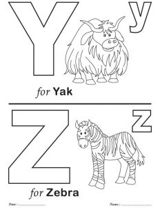 Letter y and z kindergarten worksheet