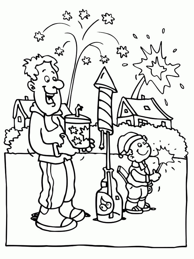 Lighting Fireworks Happy New Year Coloring Pages