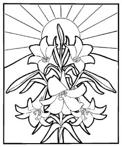 Lillies religious easter coloring pages