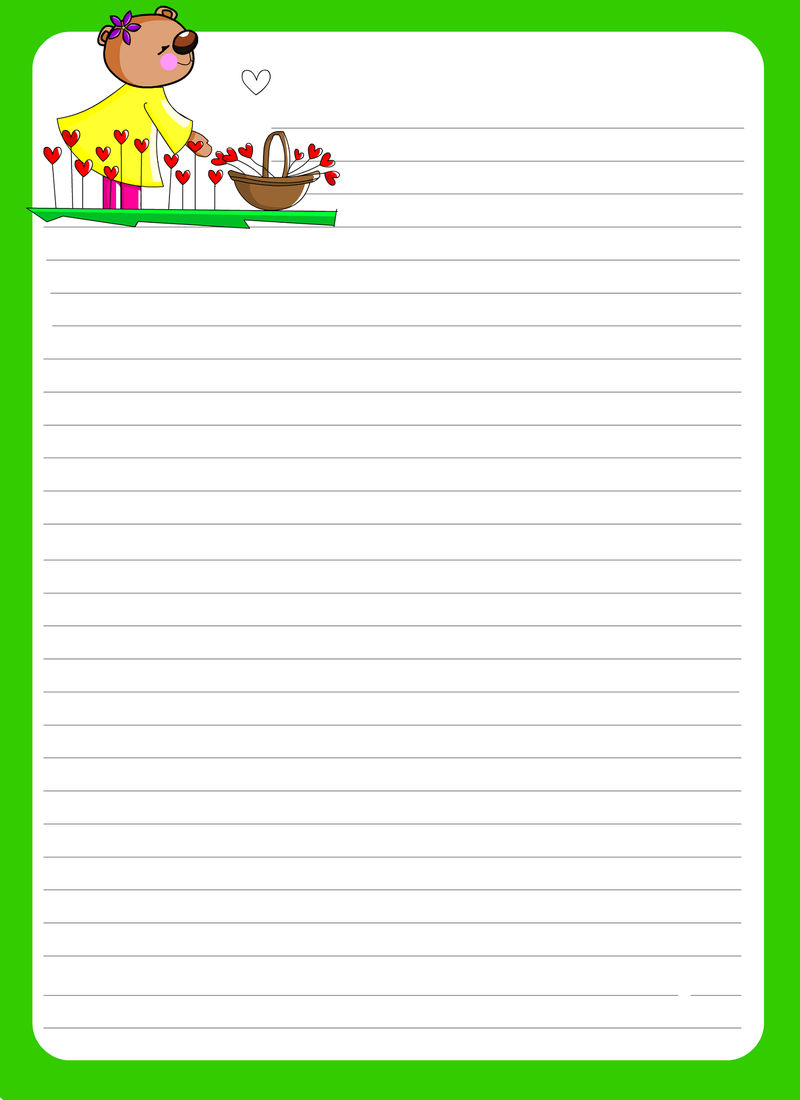 Lined Paper For Kids Green