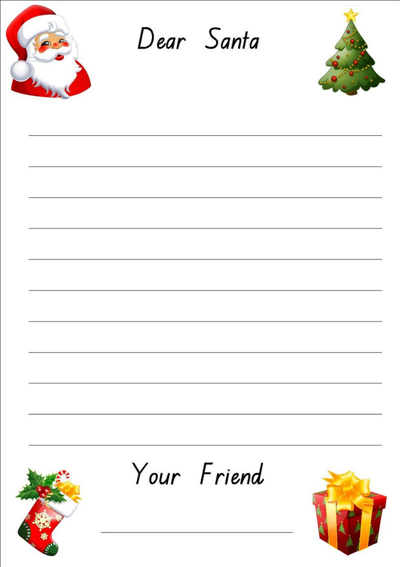 Lined Paper For Writing Santa
