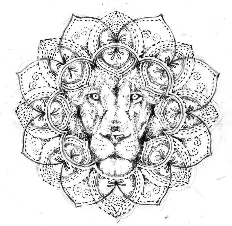 Lion Flower Mandala Drawing To Color