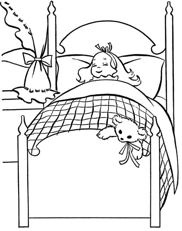 Little Girl With Suffed Doll Coloring Page
