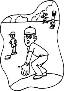 Little kids playing playing baseball coloring page