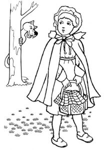 Little red riding hood being watched by the big bad wolf coloring page
