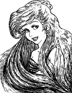 Long hair ariel mermaid coloring page