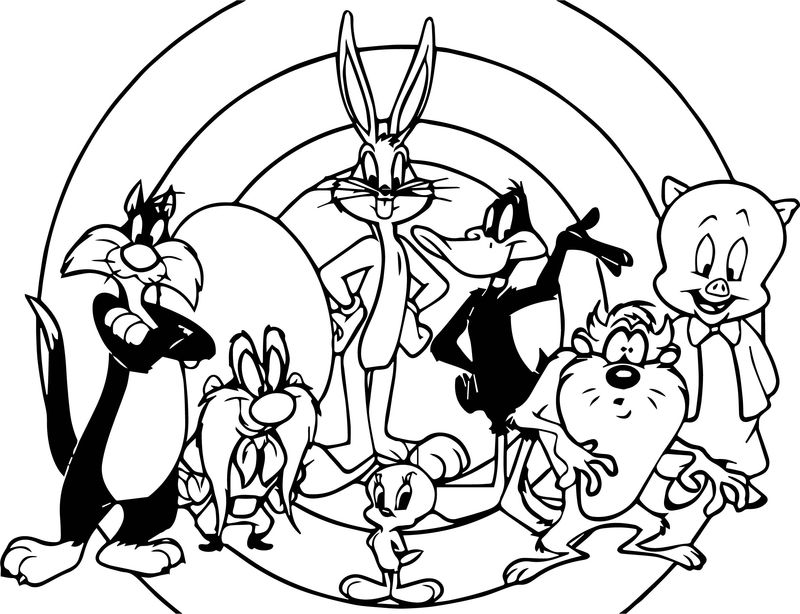 Looney Tunes All Characters Photo Coloring Page