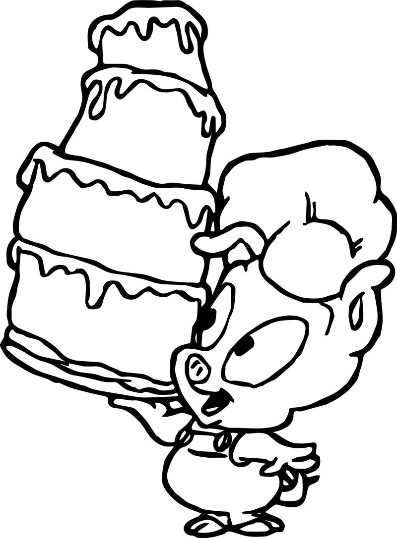 Looney Tunes Baby Pig Cake Coloring Page