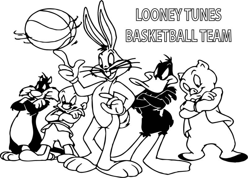 Looney Tunes Basketball Team Coloring Page