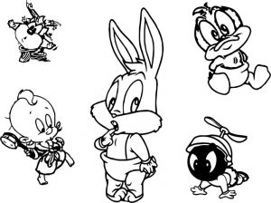 Looney tunes five characters coloring page