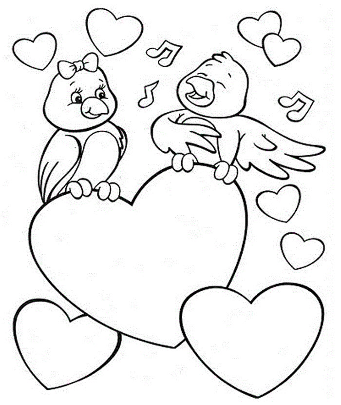 Love Birds Valentines Day Coloring Pages