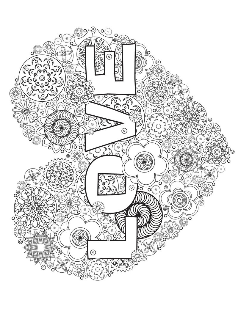 Love Heart Adult Coloring Pages