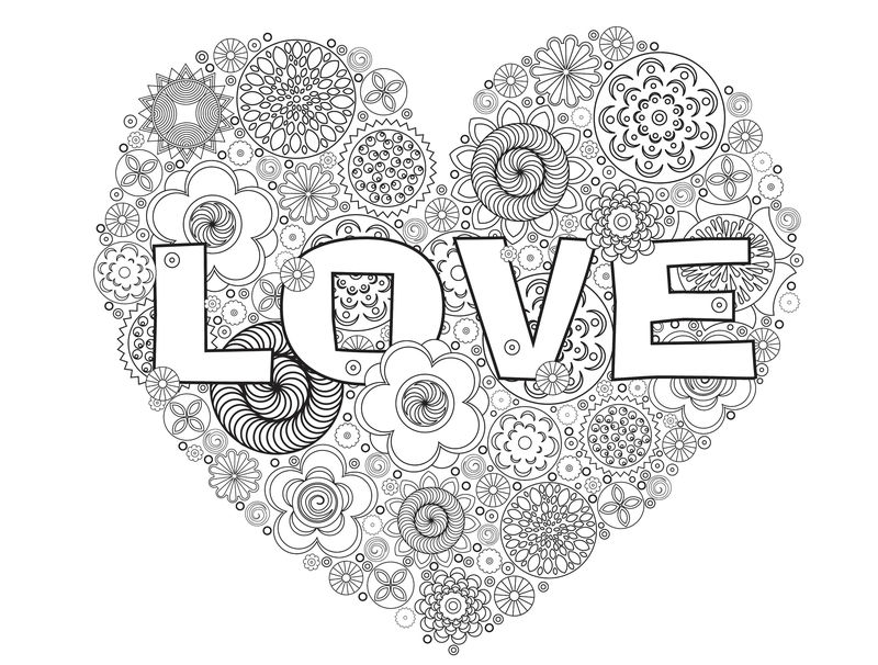 Love Heart Valentines Day Coloring Pages For Adults