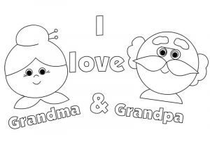 Love my grandparents day coloring page