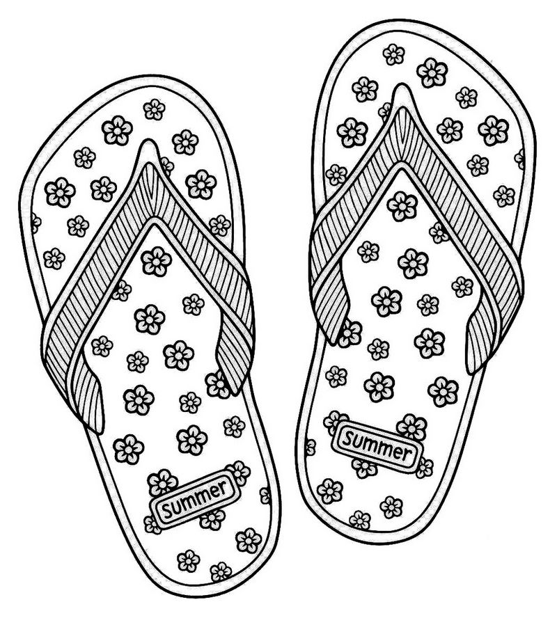 Love Summer Flip Flop Sandals Coloring Page Coloring Sheets