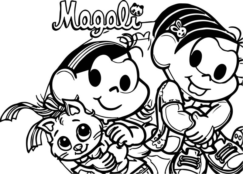 Magali Cat And Monica Girl Coloring Page