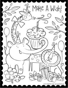 Make a wish animal birthday coloring page