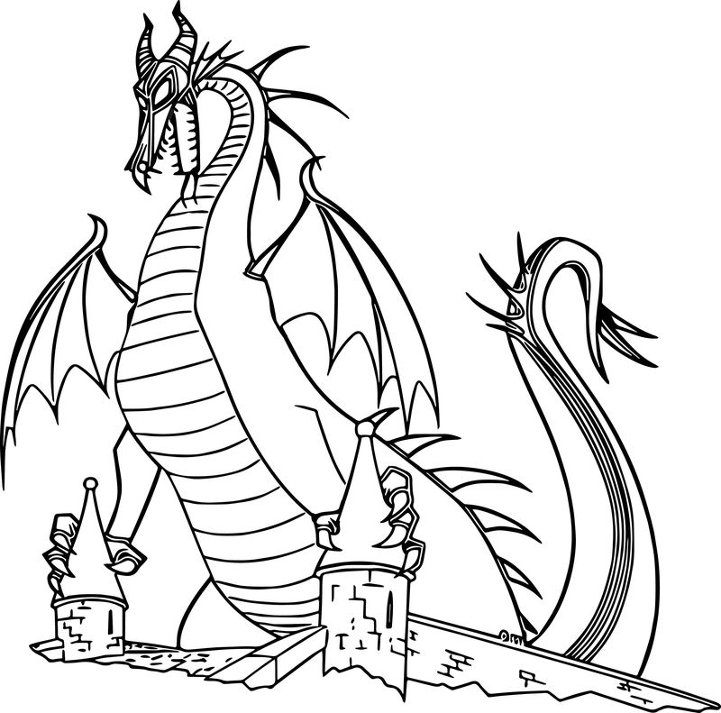 Maleficent Dragon Castle Cartoon Coloring Page