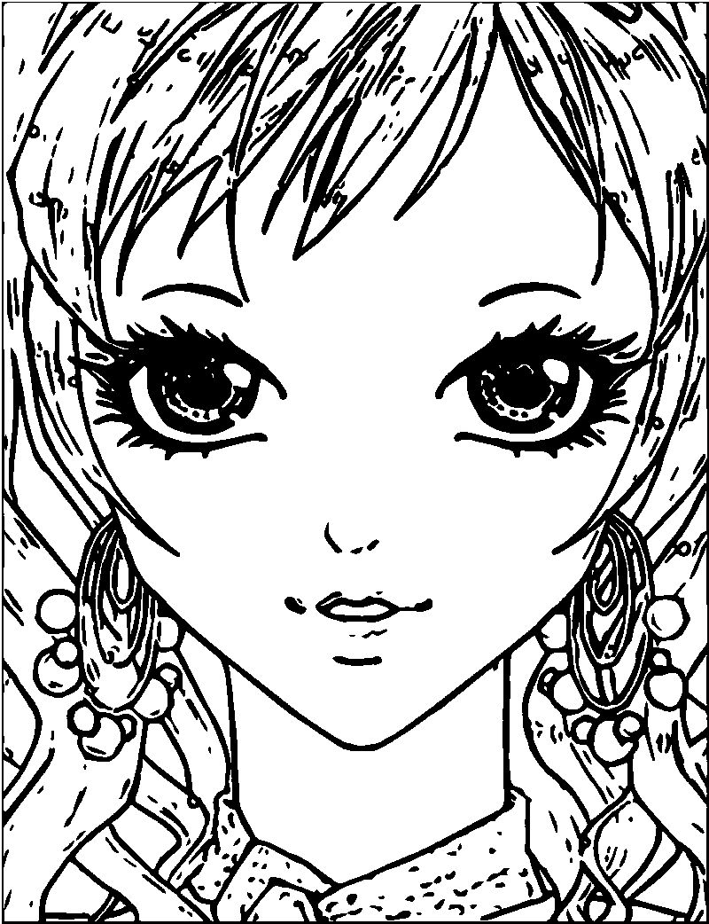 Manga Small Girl Face Coloring Page