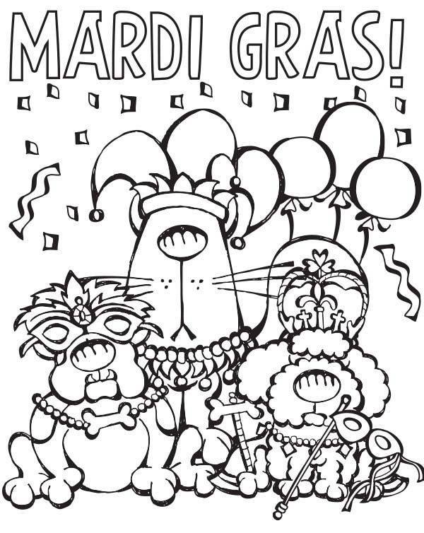 Mardi Gras Animals Coloring Pages