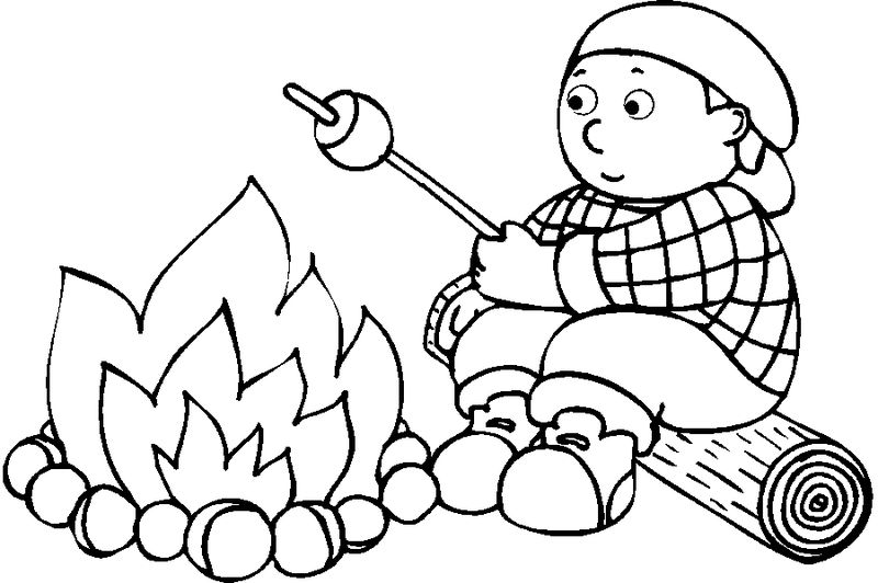 Marshmallows Over Camp Fire Coloring Page 001