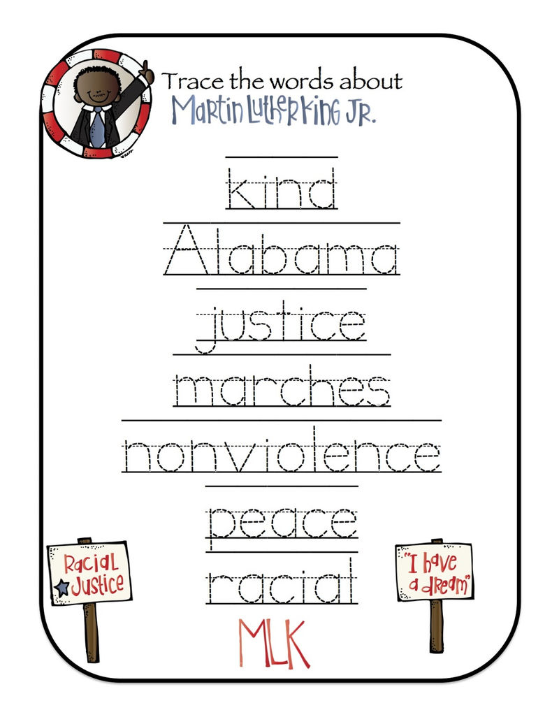 Martin Luther King Jr Word Trace Worksheet No2