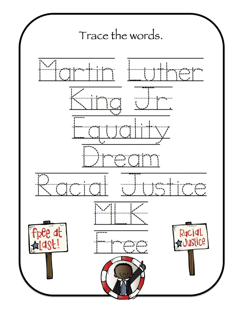 Martin Luther King Jr Word Trace Worksheet