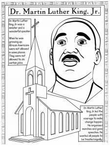 Martin luther king jrs life coloring worksheet