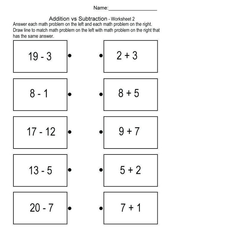 Math Addition Subtraction Worksheets