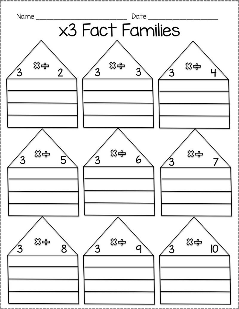 Math Fact Families Worksheets Template