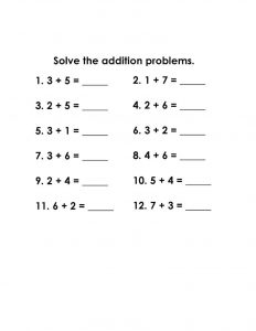 Math grade1 simple addition