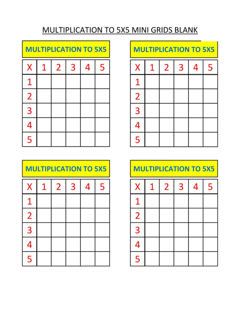 Math Grids Worksheets Multiplictaion