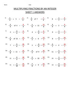 Math sheets fraction