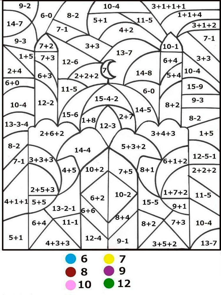 Math Subtraction Color By Number