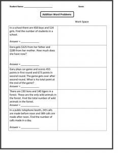 Math word problems worksheets addition