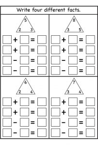 Math worksheets fact families for beginners