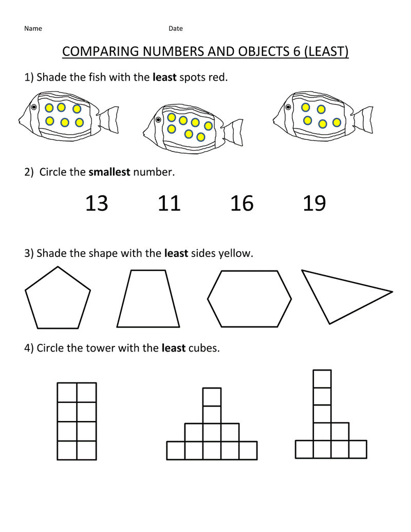 Math Worksheets For Kids Comparing