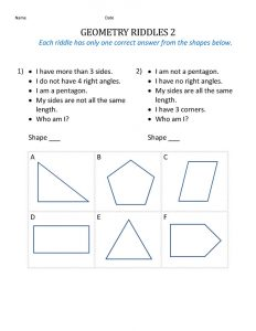 Math worksheets for kids shape