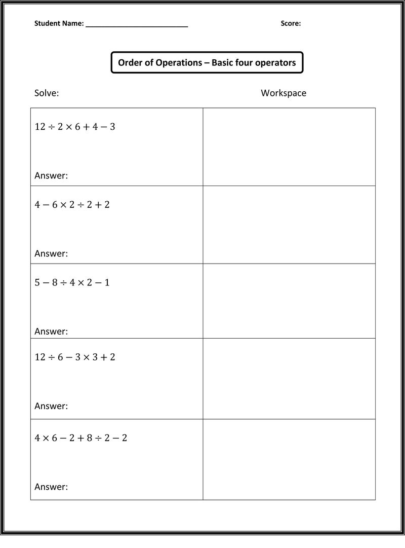 Math Worksheets Images For Practice 1