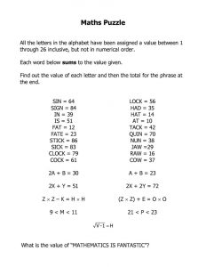 Maths puzzle for high school 001