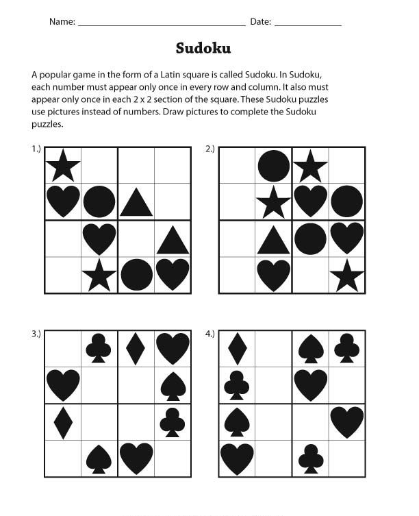 Maths Puzzles For Kids Sudoku