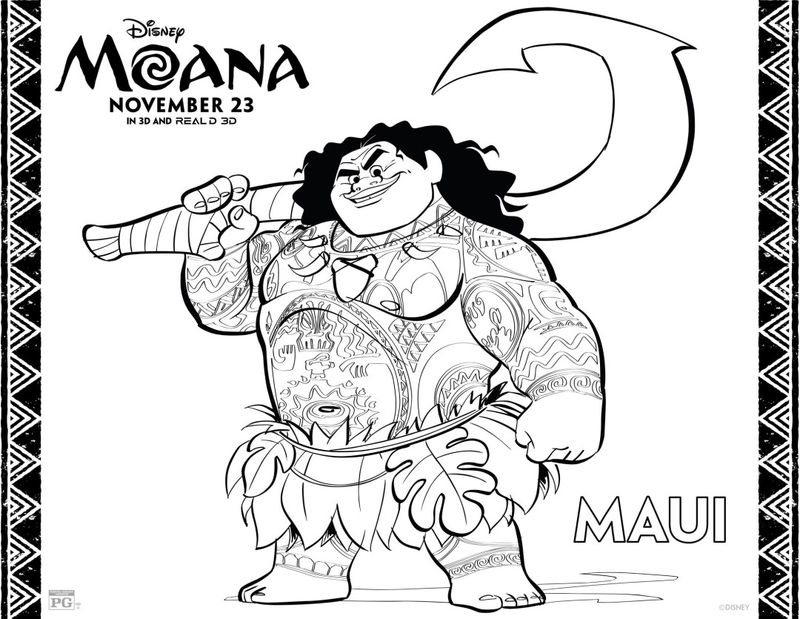 Maui Moana Coloring Pages