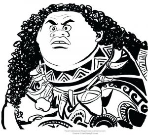 Maui simple moana coloring pages