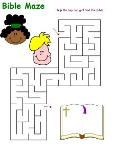 Maze puzzles for kids bible